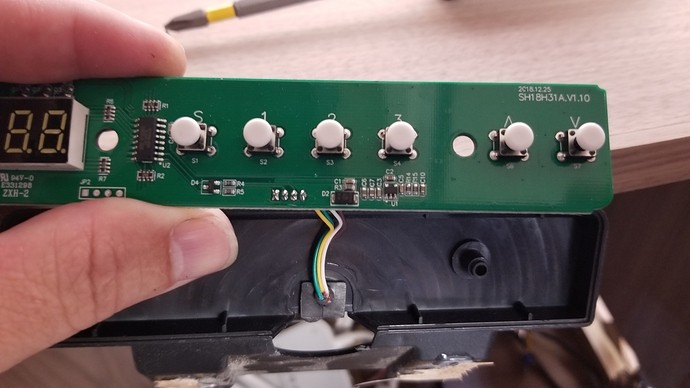 front of control panel